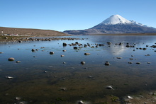 Lago Chungara (4.517 m) and Volcano Parinacota (6.348 m)
