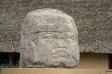 giant Olmec head in La Venta