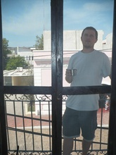Kybi on our balcony in Valladolid