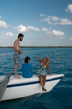 Dasa, Jose Luis and Julieta on Laguna Bacalar