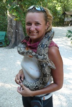Dasa with boa in Belize Zoo