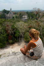 Dasa looking at Tikal from Temple V
