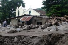 Destroyed village  after the tropical storm Agatha
