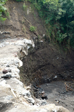 Collapse of the road after the tropical storm Agatha