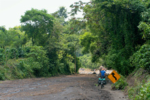 The road after the tropical storm Agatha