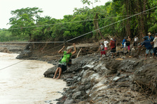 Crossing the Rio Los Esclavos after the tropical storm Agatha