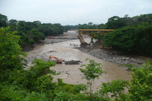 Broken bridge on Rio Los Esclavos after the tropical storm Agatha
