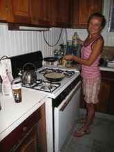 Dasa preparing pancakes, Deep Blue Divers