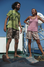 Dasa and Clement on the boat to Puerto Lempira