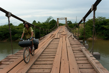 Crossing a bridge in RAAN, close to Puerto Cabezas