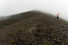 Fog on the top of the inactive crater