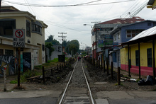 New railway in the middle of San Jose,  Costa Rica