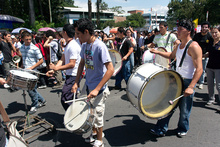 Drums in the middle of the demonstration, San Jose,  Costa Rica
