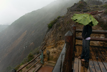 Looking to the crater in the rain, Volcan Poas, Costa Rica