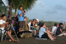 Watching a surfing competition, Playa Hermosa, Costa Rica