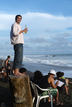 Jorge drinking a beer, Playa Hermosa, Costa Rica